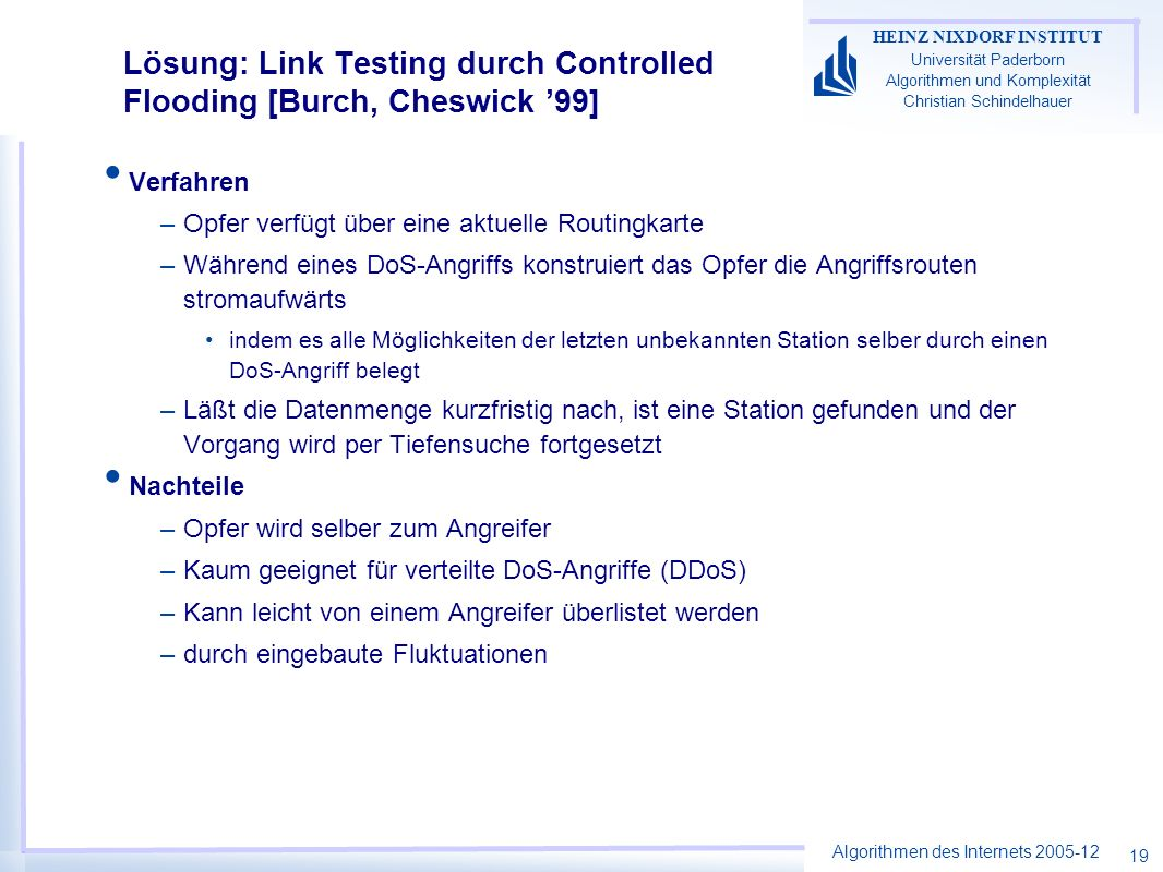 Lösung: Link Testing durch Controlled Flooding [Burch, Cheswick '99]